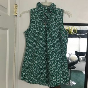 mudpie green ruffle sleeveless tunic